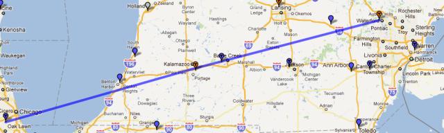 Chicago into Michigan
