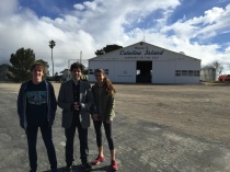 Andrew, Dexter and Andrea about to hike around the airport. March 2015