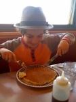 Dexter's pancake arrives