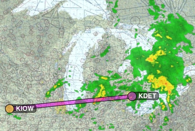 Iowa City to Detroit Metro, hoping the storms will move