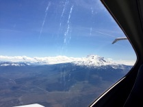 Very quickly, Mount Shasta in the rear window