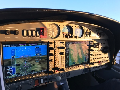 Gorgeous lighting raked the instrument panel as the autopilot navigated home from the Bay area.